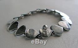 HANS HANSEN Denmark Sterling-Silver Modern Heart Link BraceletE244