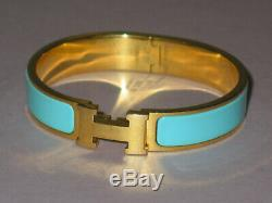 HERMES Clic Clac Classic Turquoise Blue H Hinged Bracelet