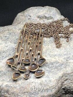Hannu Ikonen Bronze reindeer moss Pendant Necklace Finland