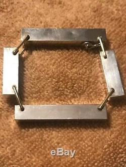 Hans Hansen Denmark Modernist Rare Sterling Silver Blocks Bracelet Bent