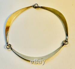 Hans Hansen Denmark Modernist Sterling Silver Necklace, Bent Gabrielsen Design