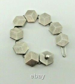 Hans Hansen Denmark Sterling 925 Cubist Bracelet Screw Clasp Heavy 95 Grams N925
