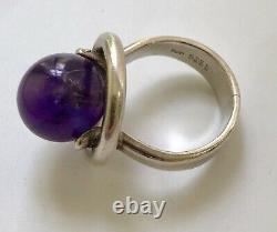 Hans Hansen Denmark Sterling Silver Modernist Ring with Amethyst