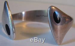 Hans Hansen Denmark Vintage Modernist Sterling Silver Black Enamel Bracelet
