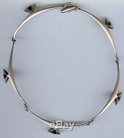 Hans Hansen Denmark Vintage Modernist Sterling Silver Black Enamel Necklace