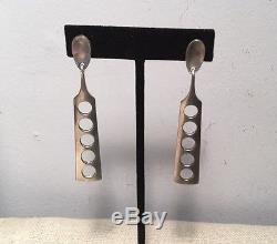 Hans Hansen Denmark Vintage Sterling Silver Mid Century Modern Dangle Earrings