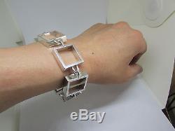 Hans Hansen Modernist Sterling Square Link Bracelet