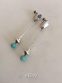 Hans Hansen Sterling Silver Earrings (Screws) No. 443 with Green Stones