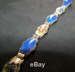 Hans Myhre Vintage Norwegian Jewelry Sterling Silver and Enamel Bracelet