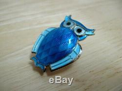 Horned Owl Pin / Brooch Guilloche Enamel Sterling Silver David Andersen