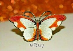 Hroar Prydz Big Butterfly Brooch Pin Sterling Silver Enamel Norway