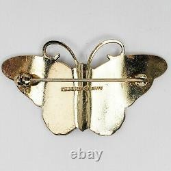 Hroar Prydz Norway 925 Sterling White Guilloche Enamel Moth Butterfly Pin Brooch