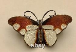 Hroar Prydz Sterling Butterfly Guilloche Enamel Pin Brooch, Norway, Mid-century