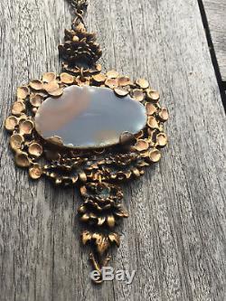 Huge Pentti Sarpaneva Finland Bronze Agate Necklace Brutalist