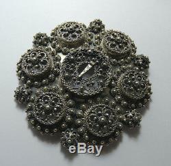 Huge Scandinavian pin-brooch silver 830S, SØLJE BUNADSØLV, SYLVSMIDJA, Norway