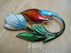 Hummingbird Pin / Brooch Guilloche Enamel Sterling Silver David Andersen