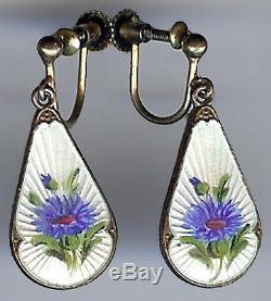 Ivar Holt Norway Vintage Gold Wash Sterling Blue Enamel Flower Dangle Earrings