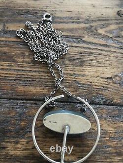 Ivar Kvale Sterling Silver Enamel Pendant Necklace Norway Norwegian