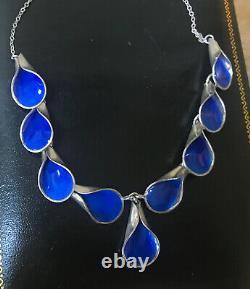 J. Tostrup Grete Prytz Sterling Silver Blue Guilloche Enamel Necklace Norway