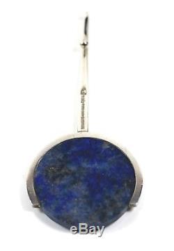 Jens Asby Denmark Modernist Handmade Sterling Large Round Lapis Disk Pendant