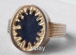 Juhani Linnovaara for LAPPONIA 14k Gold Modernist Labradorite Ring 1978 Sz 7.25