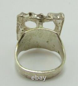 Juhls Vintage Norwegian Sterling Silver Modernist Ring sz 8