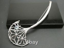 KALEVALA KORU KK Finland Sterling Silver Blue Topaz Gemstone Modernist Brooch