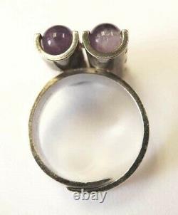KUPITTAAN KULTA Sterling Amethyst Spheres Ring Finland Elis Kauppi Vintage 1970s