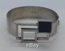 Kalevala Koru Finland Sterling Silver Black Onyx Modernist Bracelet