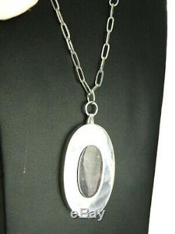 Kaunis Koru Finland Modernist Spectrolite Sterling Silver Pendant 24 Necklace