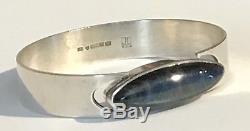 Kaunis Koru Modernist Vintage Sterling Silver Blue Spectrolite Hinged Bracelet