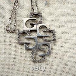 Knud Andersen Modernist Pendant Sterling Silver Necklace Danish Modern MCM KVA