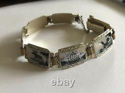 Kristiansen& Lande Sterling Silver Enamel Norway Norwegian Bracelet