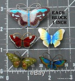 LOT of 5 vintage STERLING SILVER Butterfly PINS, David Andersen, OPRO, Norway, D3