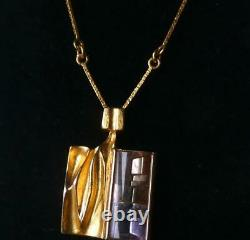 Lapponia 14k Modernist Brutalist Bjorn Weckstrom Ametrine LUXA Prism Necklace