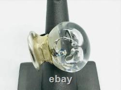 Lapponia Finland Bjorn Weckstrom Rare Acrylic Spaceman Sterling Silver Ring