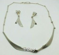 Lapponia Finland Bjorn Weckstrom Vintage Silver Necklace and Drop Earrings
