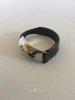 Lapponia Finland Leather Wristband with Sterling Silver Piece Björn Weckström