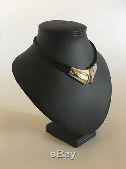 Lapponia Leather String Necklace Sterling Silver Necklace Piece Björn Weckström