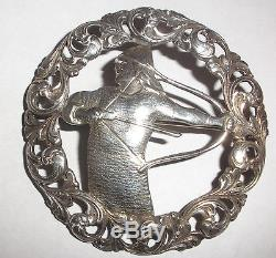 Large 2. Rare Antique Norwegian Silver 830S brooch Norway viking H C Ostrem