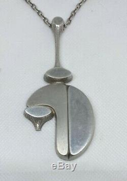 Large Jorma Laine Finland Modernist Silver Pendant Turin Hopea 1973 REDUCED