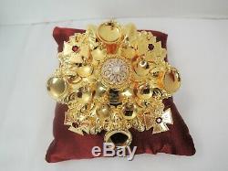 Large Norwegian Bunad 830s Gold Plated Silver Solje Broochfaces! Maltese Cross