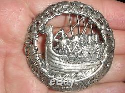 Large Norwegian Silver 830S dragon dragestil vikings brooch Norway NILS M ELVIK