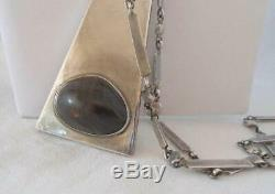 Large Vintage Danish Modernist Sterling Silver Necklace Agate Cab Mid Century A