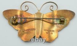 Large Vintage David Andersen, Gilded Sterling with Guilloche Enamel Butterfly Pin