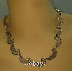 Lovely Paisley Pattern Scandinavian / Danish Design Solid Silver Necklace
