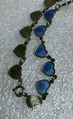 MCM DENMARK Volmer BahnerSterling Baby Blue Enamel HEART CHOKER Necklace 15