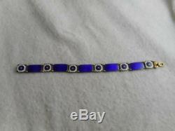MCM David Andersen Norway vermeil 925 cobalt & white enamel 7 panel bracelet