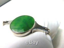 MCM N. E. Niels Erik FROM Denmark Sterling Green Chrysoprase Bracelet SIGNED Rare