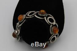 MINT RARE Antique Ernst Gideon Bek Silver and Amber Bracelet, Germany